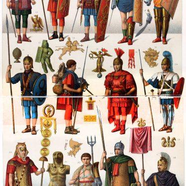 Bewaffnung der römischen Soldaten und Gladiatoren.