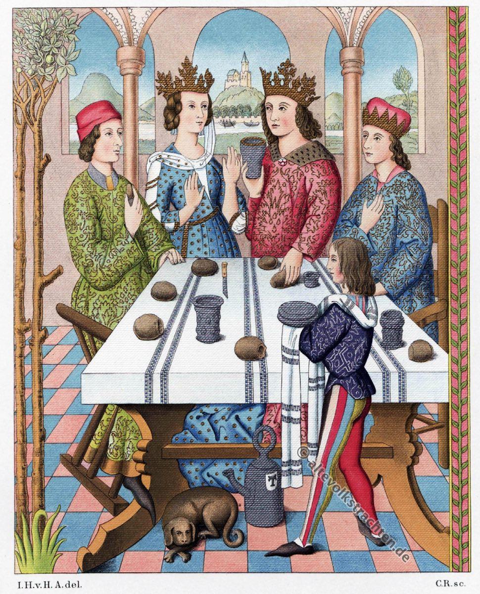 Deutscher König, Königin, Renaissance, Kleider, Mode, Kostümgeschichte, Modegschichte, Hefner-Alteneck, Wandteppich, 16. Jahrhundert