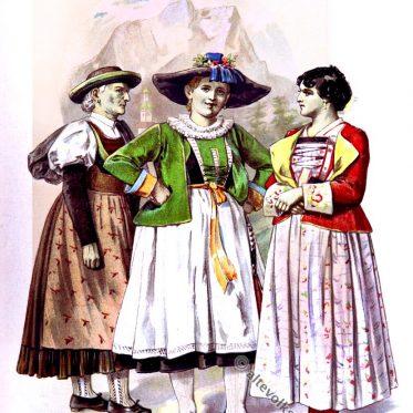 Südtiroler Trachten aus Buchenstein, Enneberg, Ampezzo.
