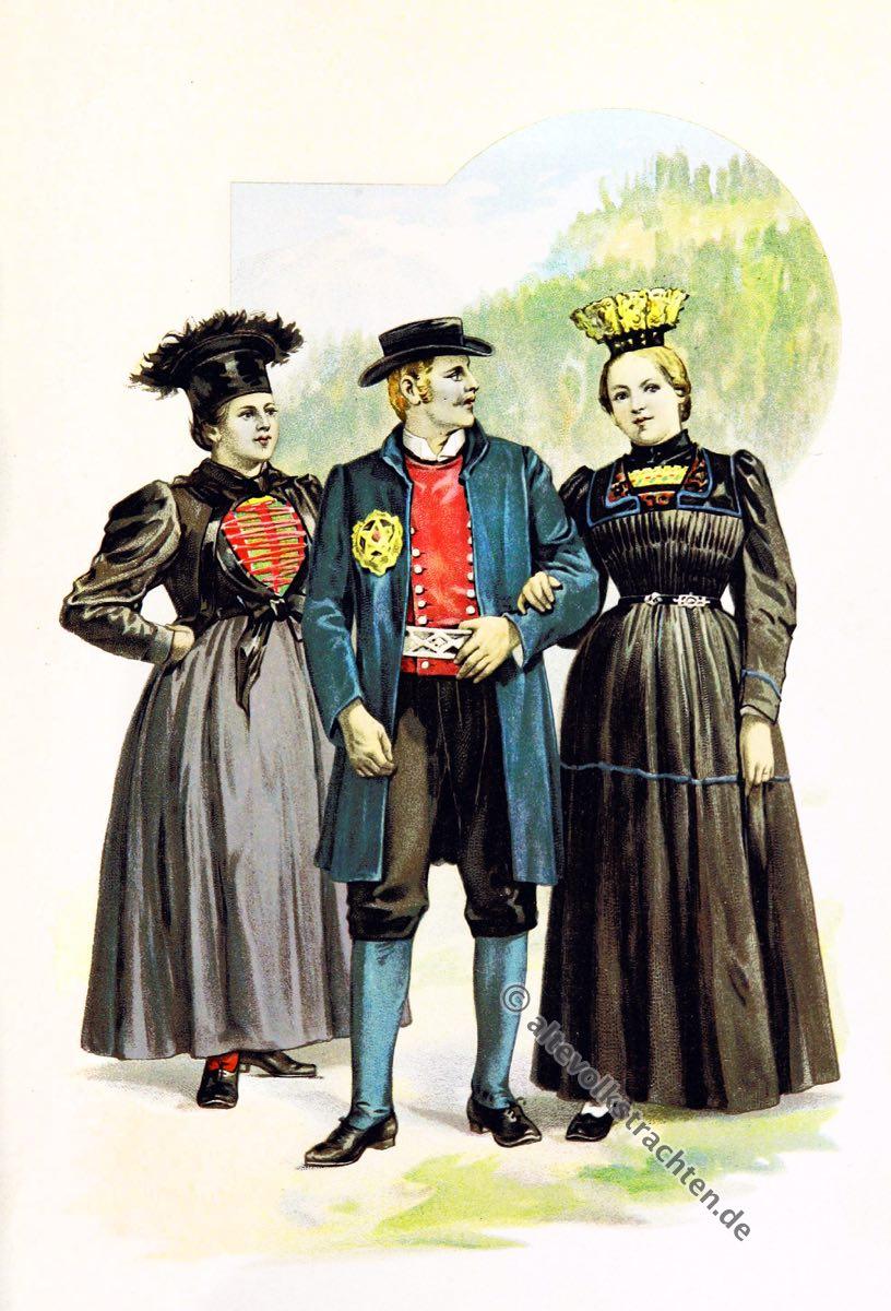 Tiroler Trachten, Tirol, Montafon, Bregenz, Bregenzer Wald, Volkstrachten, historische Kleidung, Modegeschichte, Kostümgeschichte, Arthur Achleitner