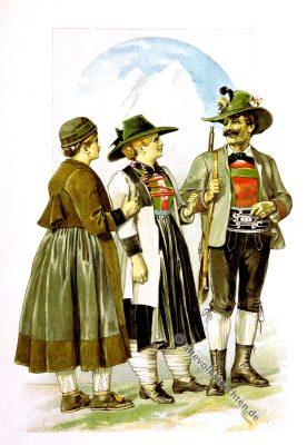 Defereggental, Alpach, Zillertal, Tiroler Trachten, Tirol, Österreich, Volkstrachten, historische Kleidung, Modegeschichte, Kostümgeschichte, Arthur Achleitner