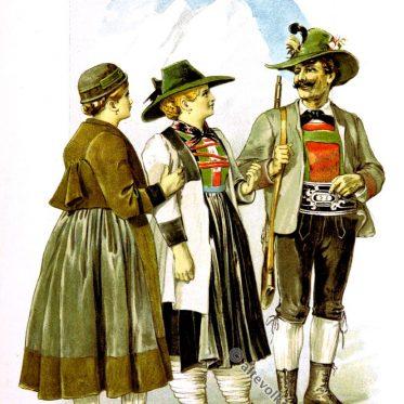 Tiroler Trachten aus Defereggental, Alpach, Zillertal.
