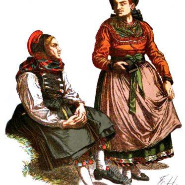 Bäuerinnen aus der Gegend von Breidenstein um 1900.