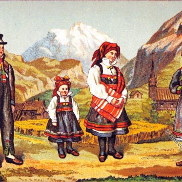 Trachten aus Setesdal, Norwegen um 1888.