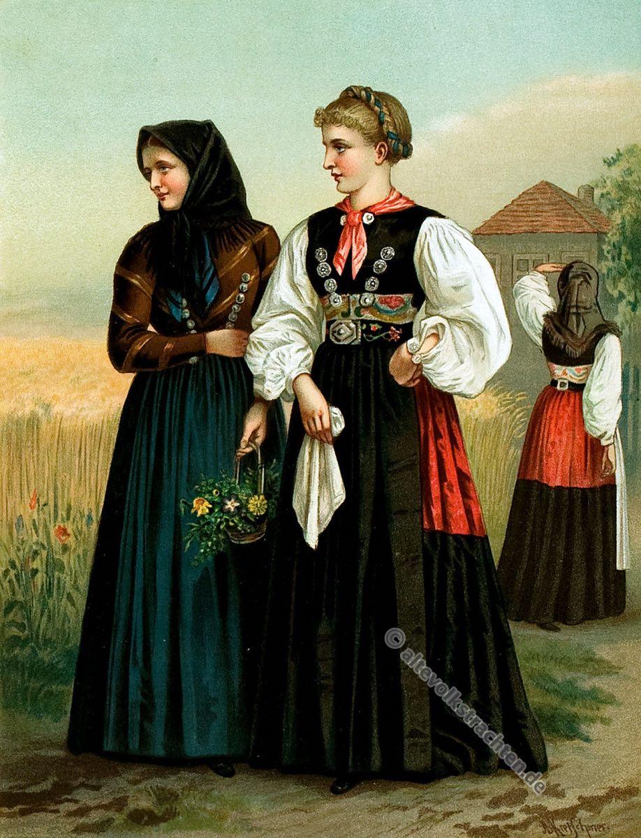 Holstein Probstei, Schleswig Holstein, Trachten, Volkstrachten, Albert Kretschmer, Kostümkunde, Modegeschichte, historische Kleidng