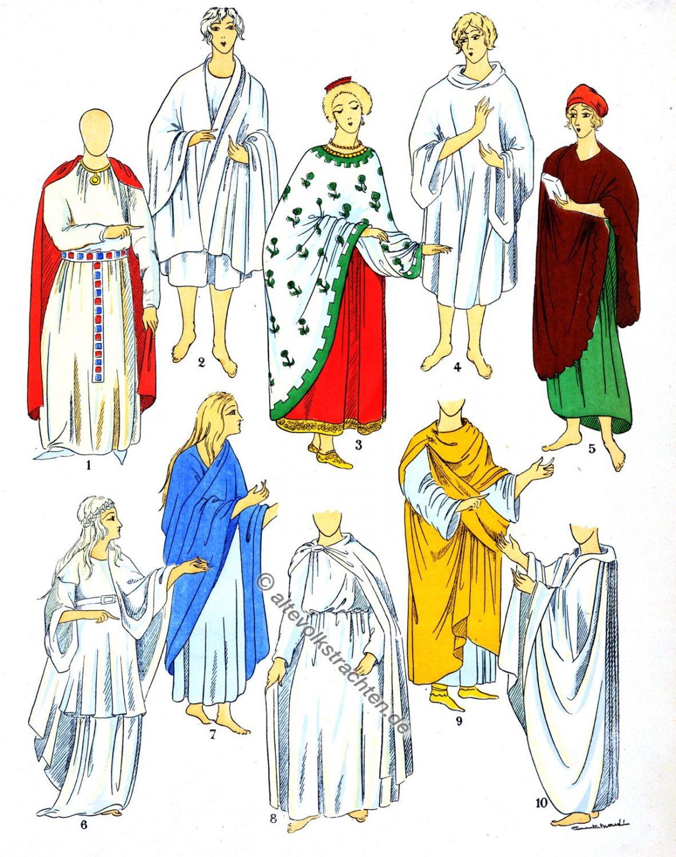 Mäntel, Umhang, Druidenkostüm, Druide, Tunika, Childebert, Merowinger, Gallien, Modegeschichte, Paul-Louis de Giafferri
