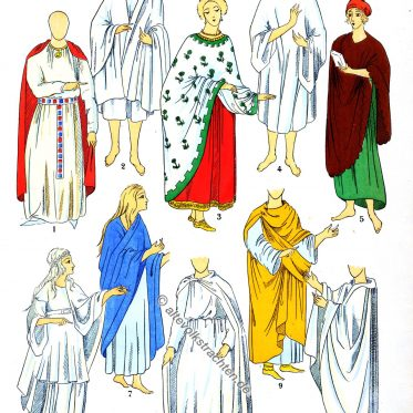 Mäntel und Kostüme der Gallier und Merowinger.
