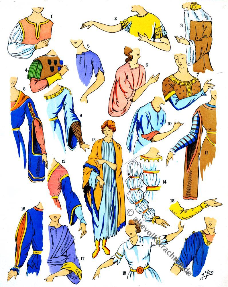 Ärmel, Ärmelformen, Röcke, Gewänder, Gewandung, Kleidung, Merowinger, Gallier, Modegeschichte, Kostümkunde, Antike, Kelten, Gallien, Kostüme, Paul-Louis de Giafferri