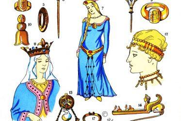 Schmuck, Juwelen, Merowinger, Gallier, Modegeschichte, Kostümkunde, Antike, Kelten, Gallien, Kostüme, Paul-Louis de Giafferri