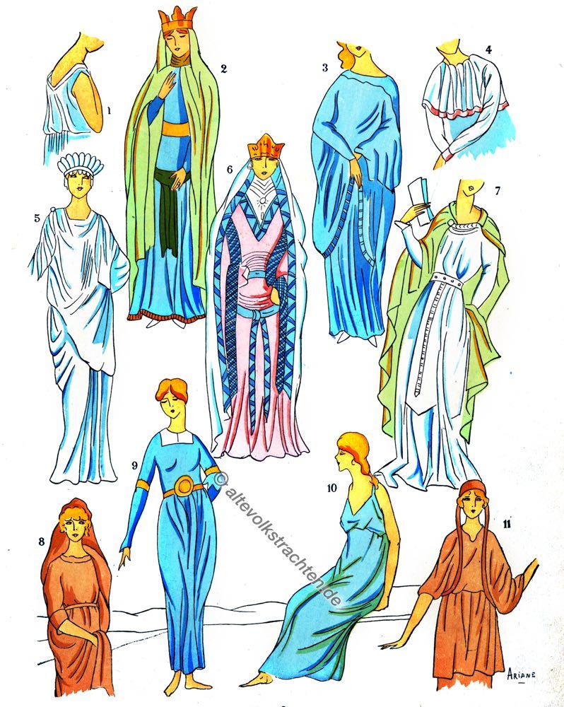 Gallier,Merowinger, Kostüme, Modegeschichte, Kostümgeschichte,