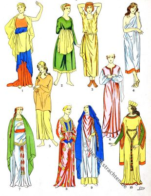 Gewänder, Gewandung, Kleidung, Merowinger, Gallier, Modegeschichte, Kostümkunde, Antike, Kelten, Gallien, Kostüme, Paul-Louis de Giafferri