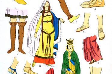 Schuhe, Sandalen, Merowinger, Gallier, Kostümkunde, 5. Jahrhundert, Kelten, Gallien, Kostüme, Paul-Louis de Giafferri
