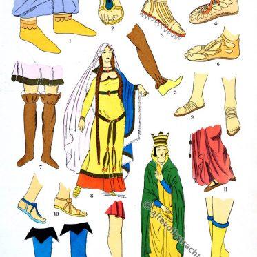 Schuhe der Merowinger. Kostümkunde Gallien.