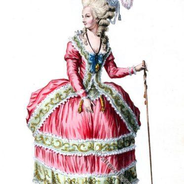 Mode des späten Rokoko um 1780. Piémontaise, polonaise.