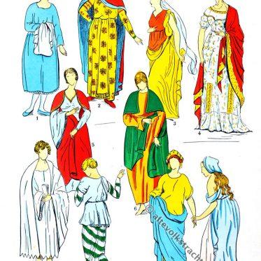 Röcke und Kleider der Gallier und Merowinger.