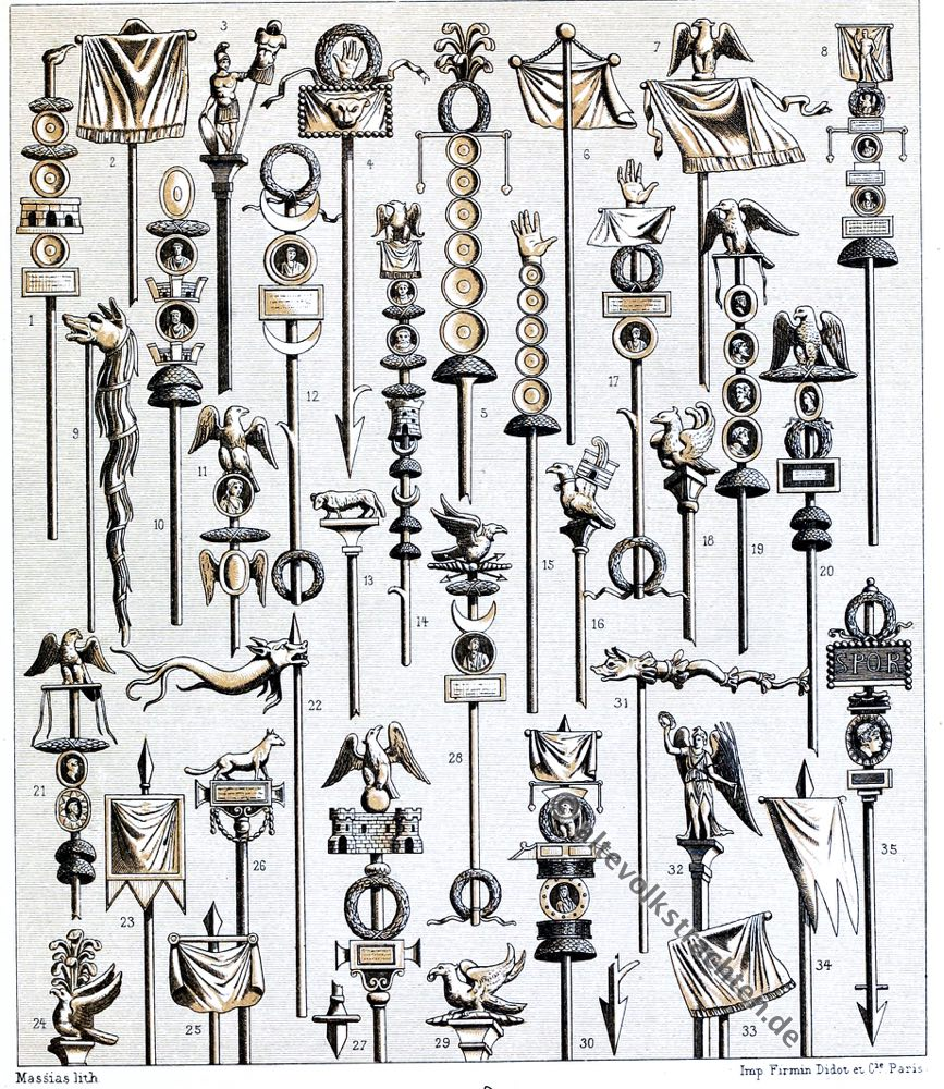 Militär, Antike, Rom, römisch, Feldzeichen, Fahnen, Auguste Racinet, Kostüm