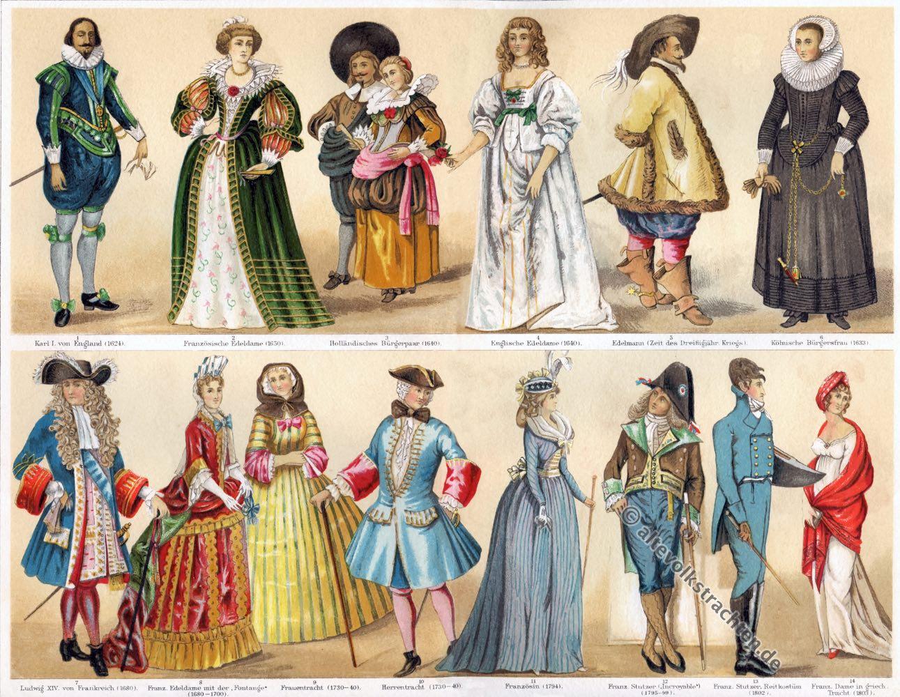 Kostüme, Bekleidung, 17., 19., Jahrhundert, Modegeschichte, Barock, Rococo, Empire,