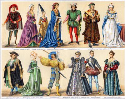 Kostüme, 15., 16. Jahrhundert, Modegeschichte, Renaissance