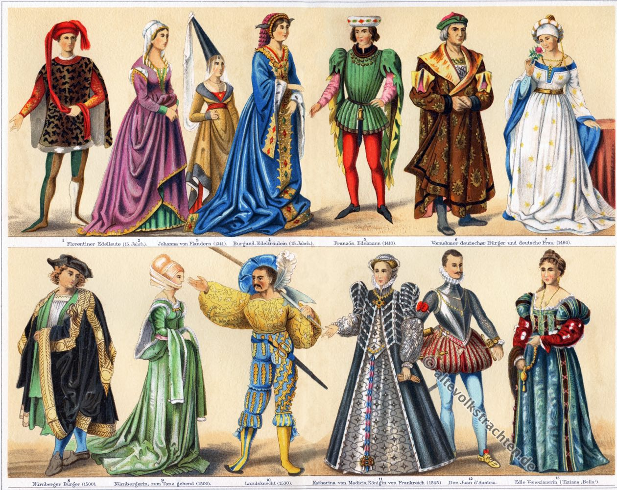 Kostüme, Mode, Burgund, Modegeschichte, Renaissance