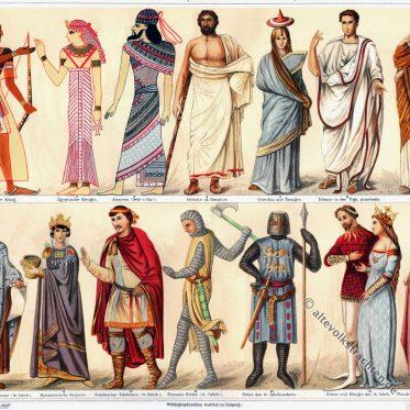Kostüme der Antike,  Mittelalter, 15. bis 19. Jahrhundert