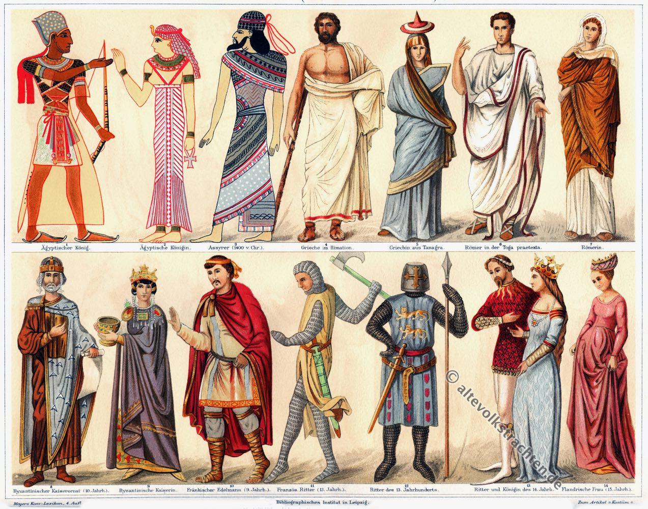 Kostüme, Altertum, Antike, Griechenland, Ägypten, Assyrien, Byzanz, Mittelalter, Modegeschichte, Kostümgeschichte