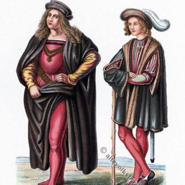 Deutsche und italienische Männertrachten der Renaissance.