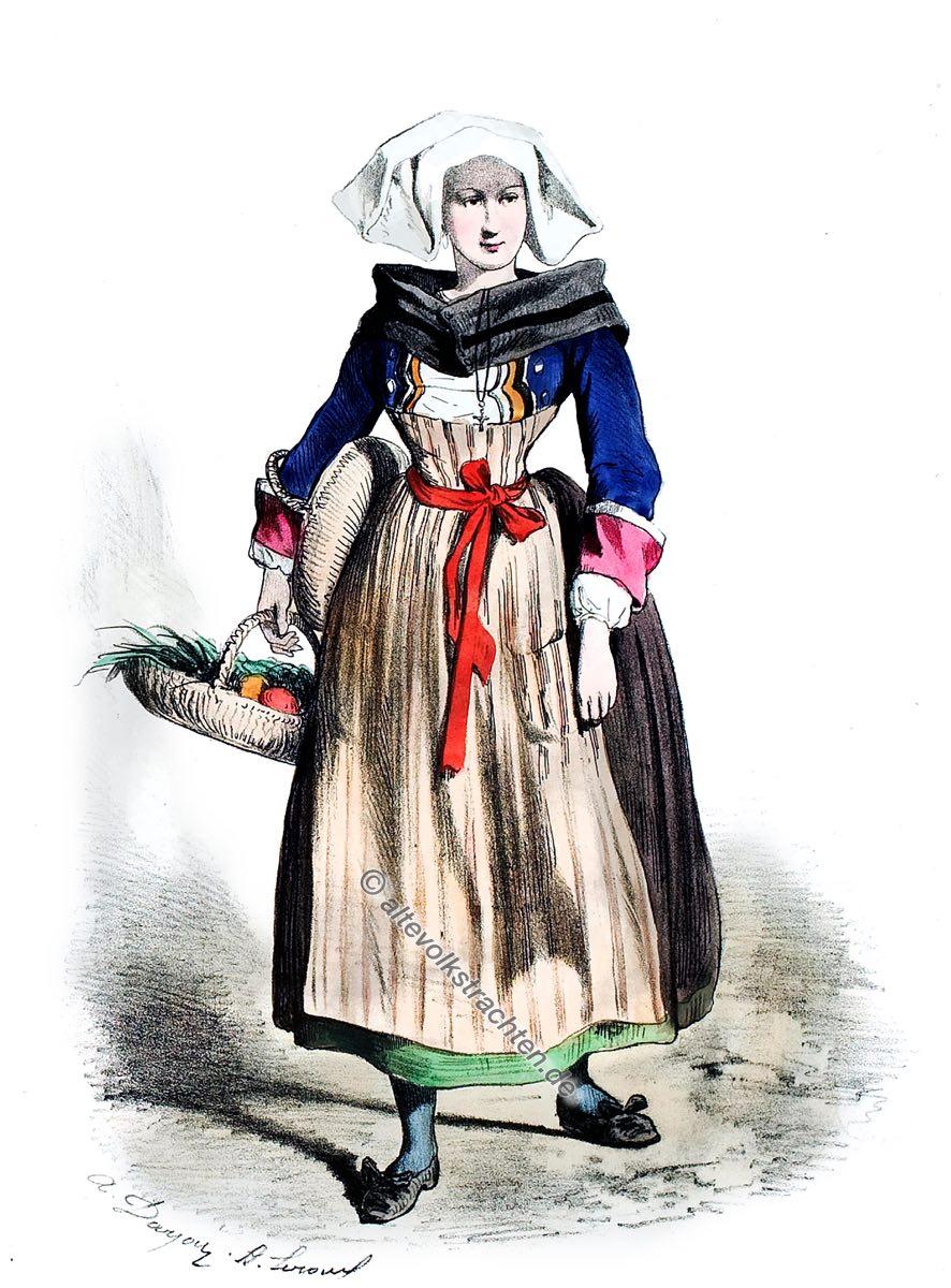 Châteaulin, Bretagne, Alexandre Leroux, Alfred Darjou, Kostüm,Historische Tracht, Frankreich