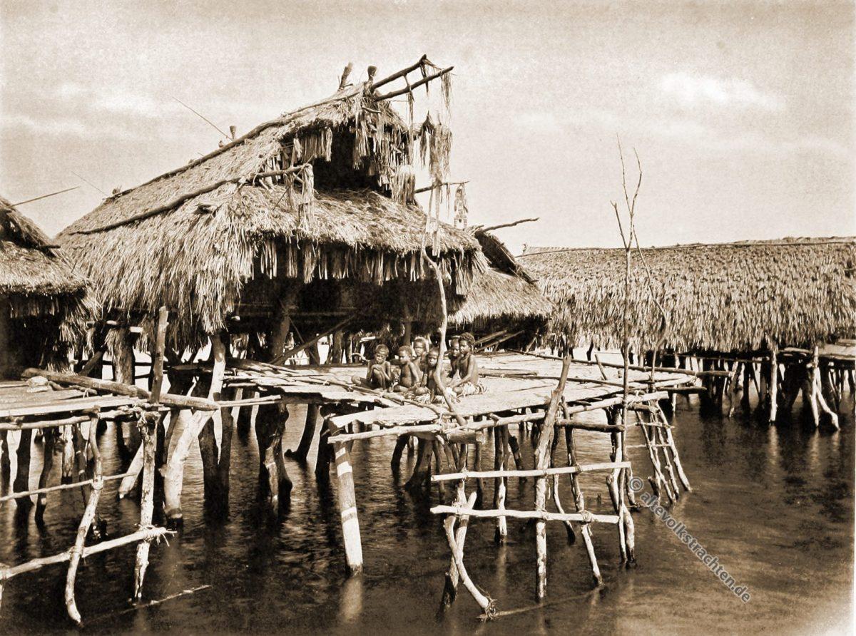 Tupuselei, Chiefs house, Papuasia, Papua New Guinea, J. W. Lindt