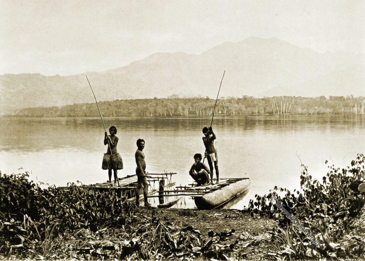 natives, Garihi, village, Bertha, Lagoon, Papuasia, Papua New Guinea, J. W. Lindt,