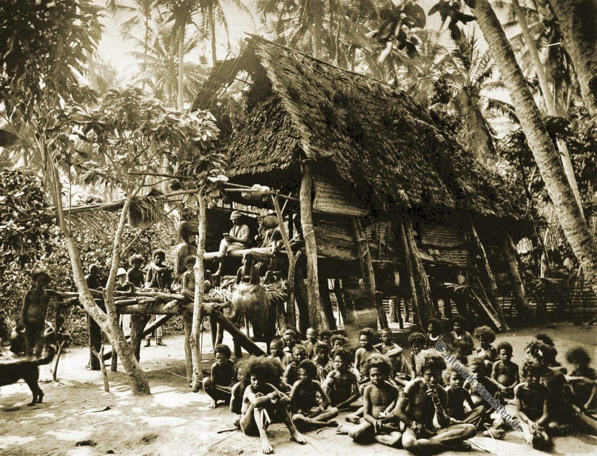 Kamali, Native house, Papua, New Guinea, J. W. Lindt