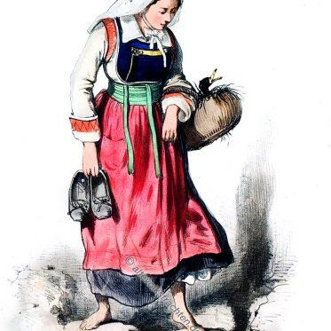 Frau aus Pluméliau, Arrondt. von Pontivy. Bretagne 1865.