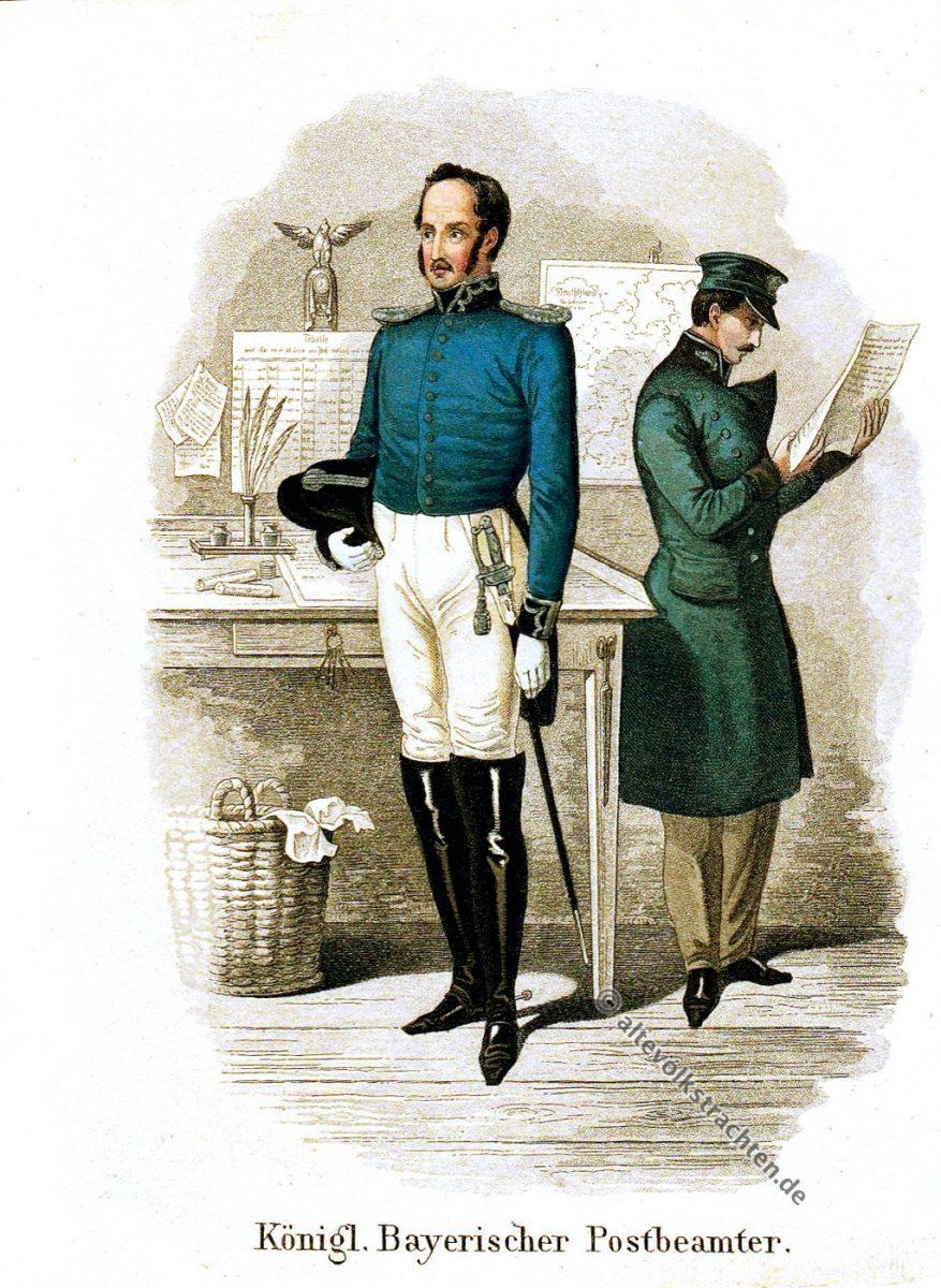 Postbeamter, Uniform, Bayern, Biedermeier, Post-Almanach