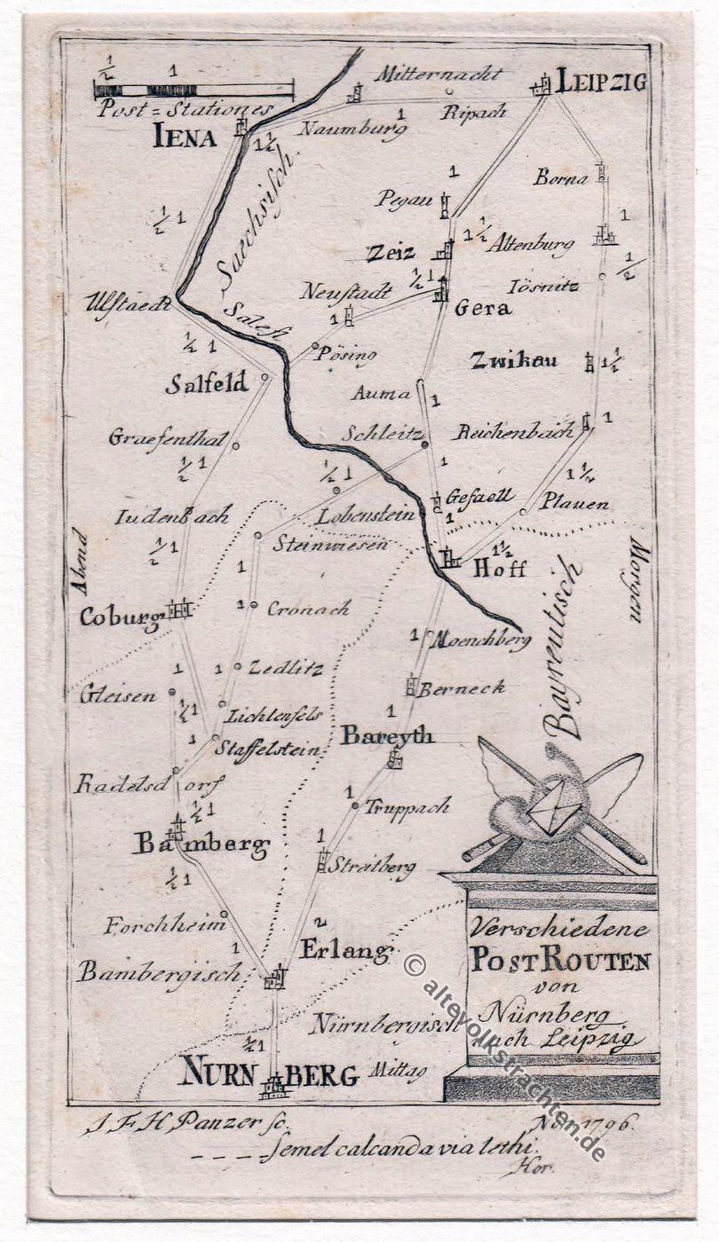 Postrouten, Nürnberg, Leipzig,