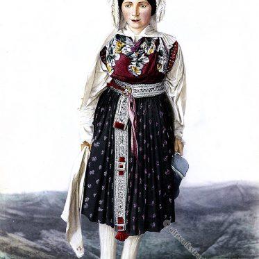Slowenische Braut um 1870. Historische Tracht.