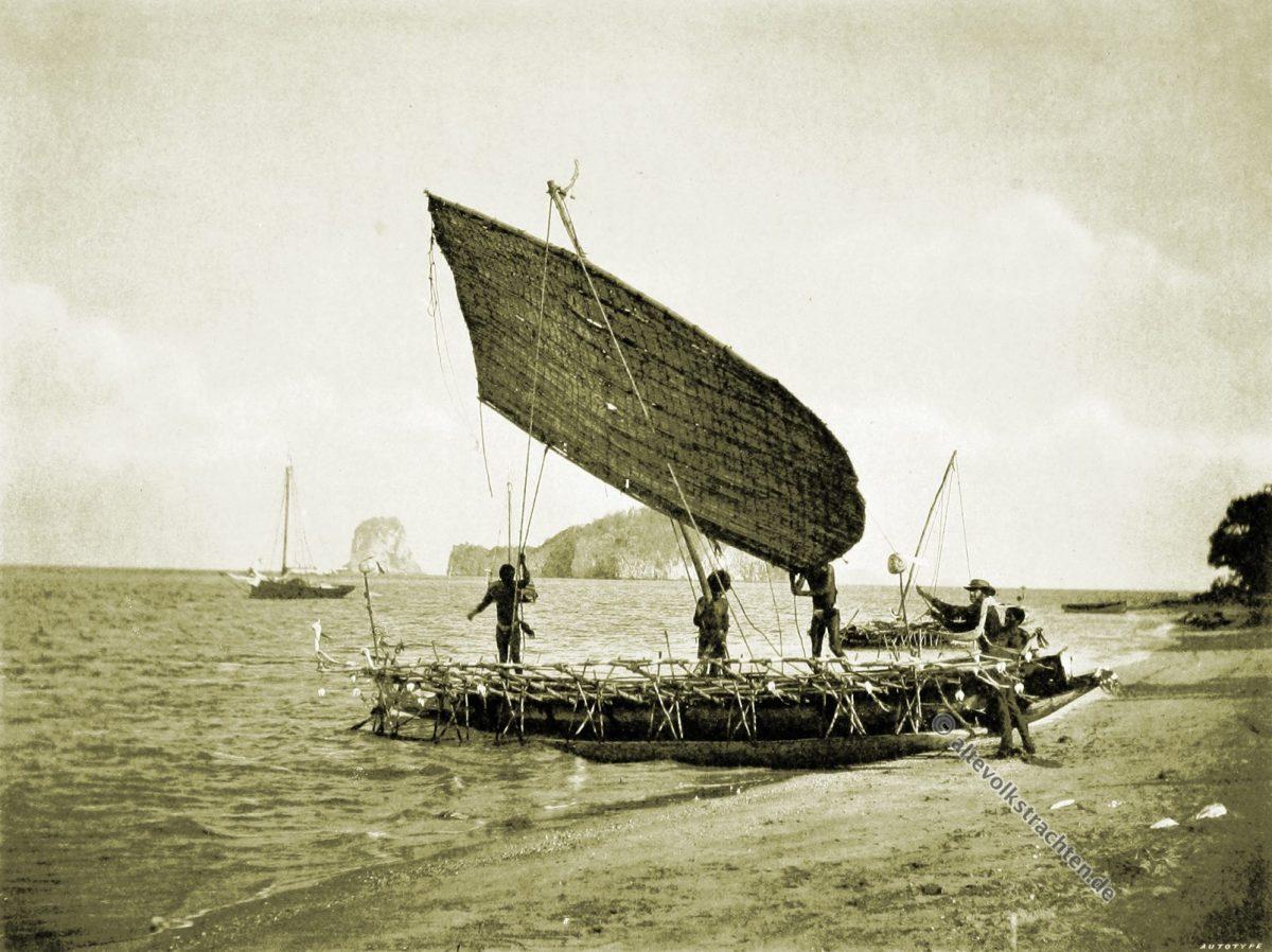 Teste Island, Bell Rock, Cliffy Island, Canoe, vessel, Native, dress, Papuasia, Papua New Guinea, J. W. Lindt,