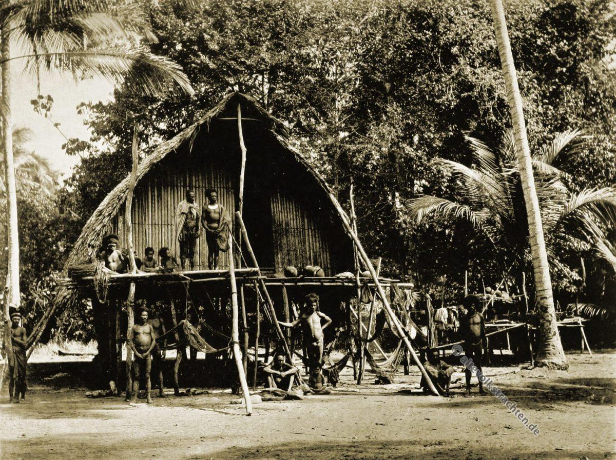 Native house, Vannabada, Kabade, Papuasia, Papua New Guinea, J. W. Lindt,