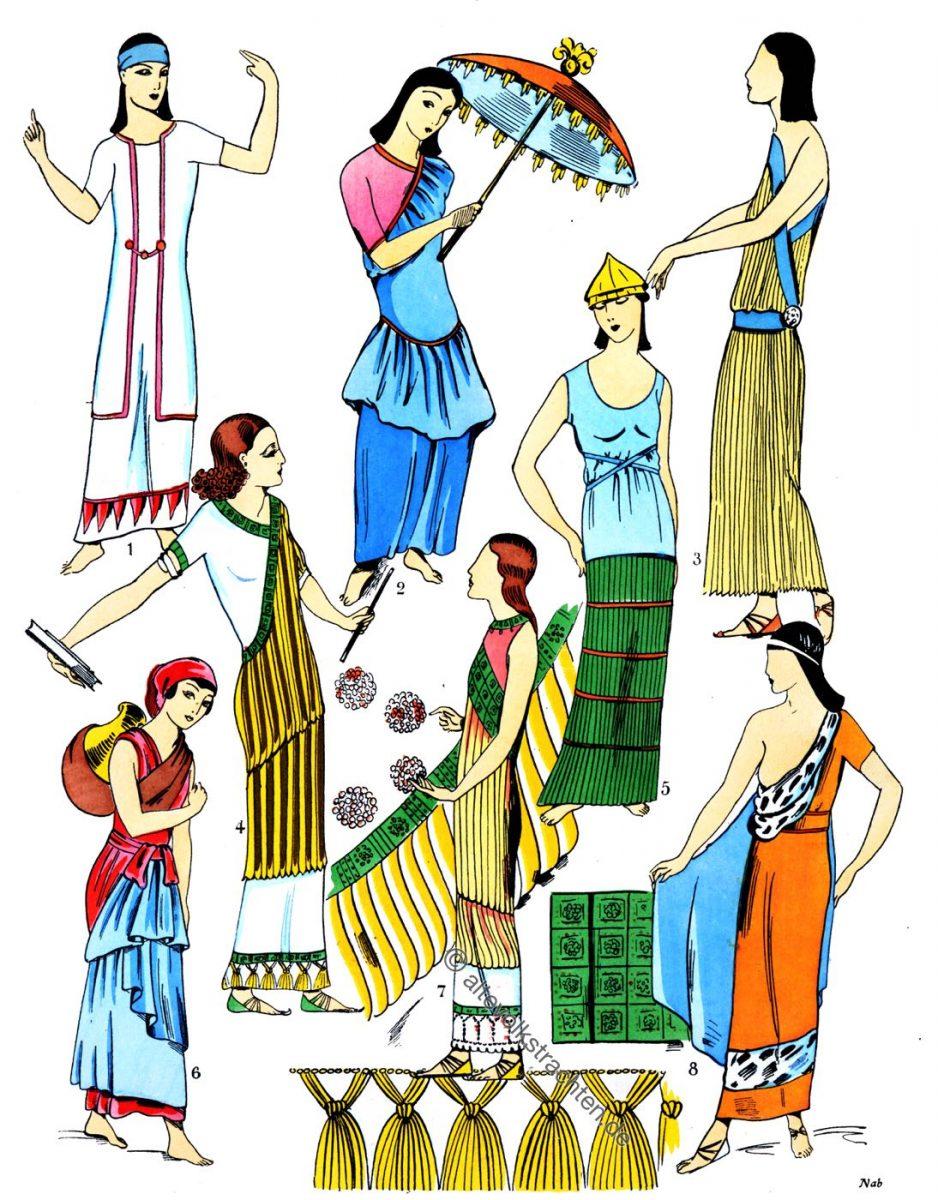 Assyrien, Mesopotamien, Kostüme, Röcke, Rockformen, Trachten, Antike, Kostümgeschichte, Paul Louis de Giafferri