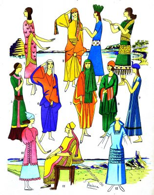 Elegante Damen, Assyrien, Mesopotamien, Kleider, Mode, Kleidung, Trachten, Kostümgeschichte, Paul Louis de Giafferri