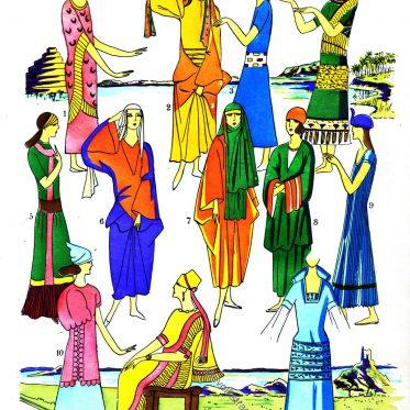 Elegante Damen der Antike. Assyrien, Mesopotamien.