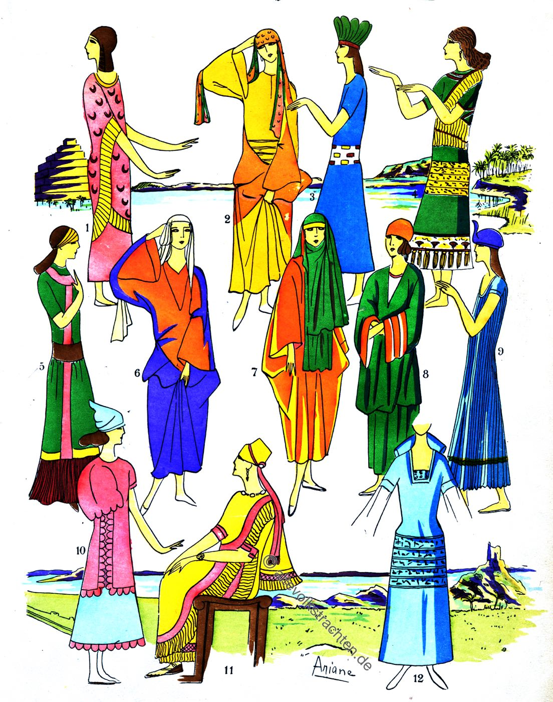 Elegante Frauen, Assyrien, Mesopotamien, Kleider, Mode, Kleidung, Trachten, Kostümgeschichte, Paul Louis de Giafferri