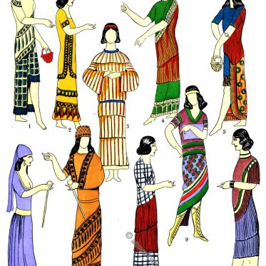 Kleiderformen des antiken Assyrien, Mesopotamien.