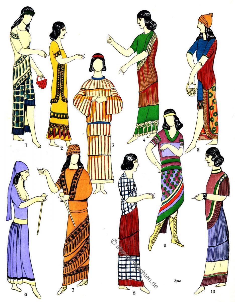 Assyrien, Mesopotamien, Kleider, Mode, Kleidung, Trachten, Kostümgeschichte