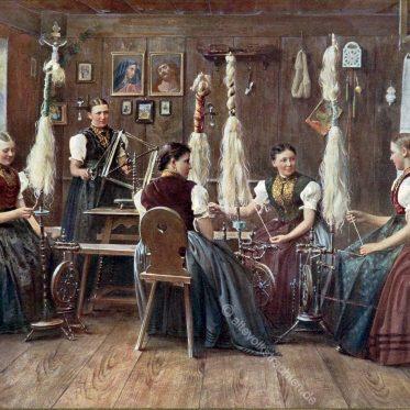 Badische Frauen am Spinnrad um 1896