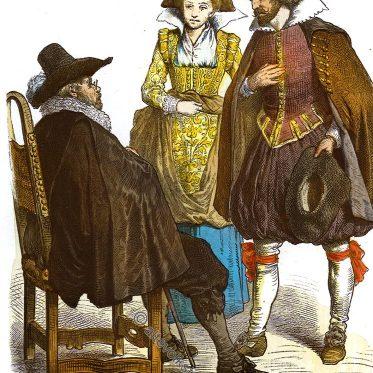 Bürgerliche Trachten. Deutschland um 1630.