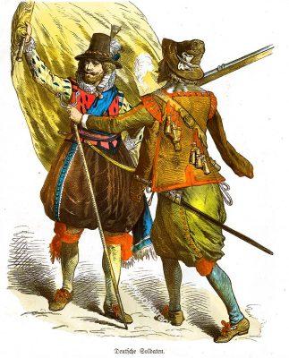 Soldaten, Landsknechte, Deutschland, Fahnenträger, Musketier, Renaissance, 16. Jahrhundert