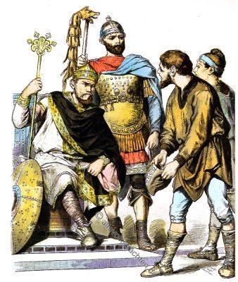 Karolinger, König, Mittelalter, General, Rüstung,Bauern, Kostümgeschichte, Münchener Bilderbogen