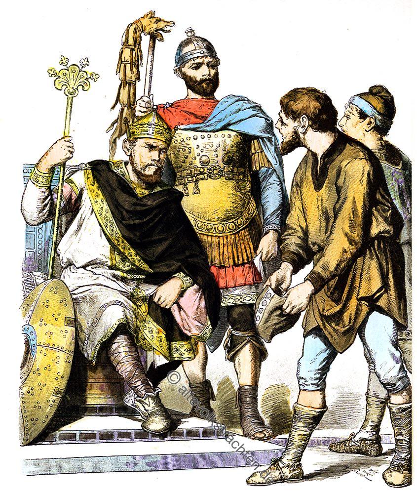 Karolinger, König, 8. Jahrhundert, General, Rüstung,Bauern, Kostümgeschichte, Münchener Bilderbogen