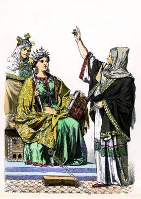 Karolinger, Königin, Kaiserin, Prophetin, Trauzeugin, Seherin, Mittelalter, Kostümgeschichte, Münchener Bilderbogen,