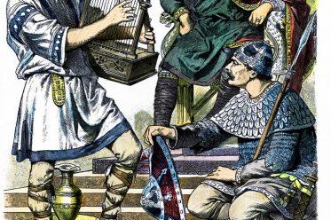Karolinger, Troubadour, Minnesänger, Herzog, Ritter, Bewaffnung, Mittelalter, Kostümgeschichte, Münchener Bilderbogen,