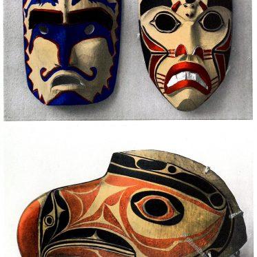 Zeremonielle Masken aus Britisch-Kolumbien und Alaska.